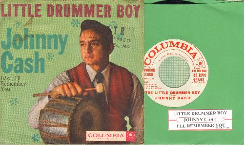 Cash, Johnny - The Little Drummer Boy/I'll Remember You (with picture sleeve and juke box label) - NM9/VG7 - 45 rpm Records