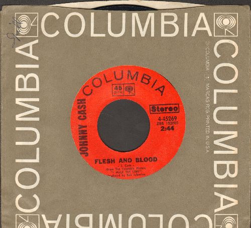 Cash, Johnny - Flesh And Blood/This Side Of The Law  (with Columbia company sleeve) - EX8/ - 45 rpm Records