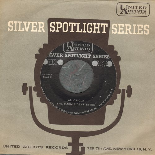 Caiola, Al & His Orchestra - The Magnificent Seven/Theme From The Apartment (by Ferrante & Teicher on flip-side) (early re-issue with United Artists company sleeve) - M10/ - 45 rpm Records