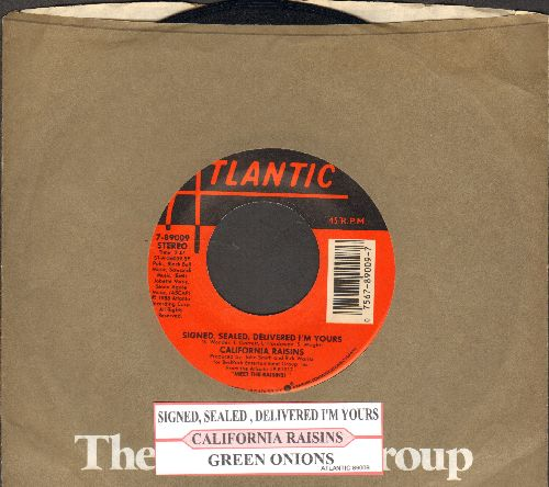 California Raisins - Signed, Sealed, Delivered I'm Yours/Green Onions (with juke box label and Atlantic company sleeve) - NM9/ - 45 rpm Records