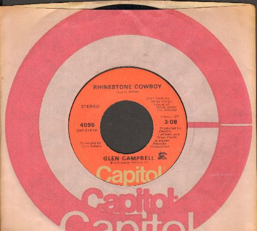 Campbell, Glen - Rhinestone Cowboy/Lovelight (with Capitol company sleeve) - NM9/ - 45 rpm Records