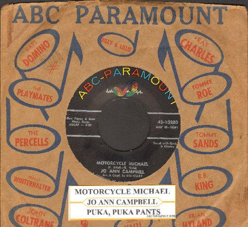 Campbell, Jo Ann - Motorcycle Michael/Puka, Puka Pants (with juke box label and ABC-Paramount company sleeve) - NM9/ - 45 rpm Records