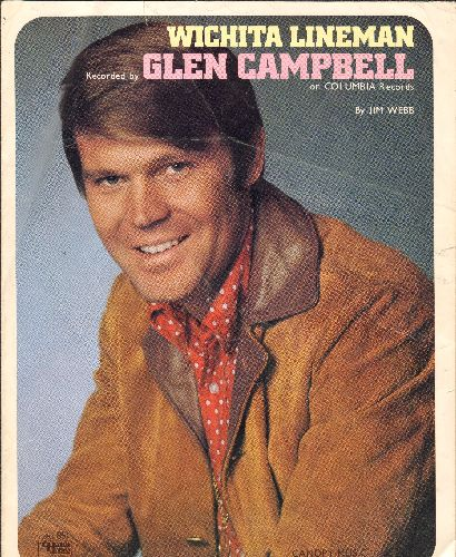 Campbell, Glen - Wichita Lineman -SHEET MUSIC for the Glen Campbell Country Classic - VG7/ - Sheet Music