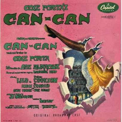 Lilo, Gwen Verdon, Peter Cookson, others - Cole Porter's Can-Can - Original Broadway Cast - vinyl LP record, burgundy label early 1950s issue: C'est Magnifique, Come Along With Me, Live And Let Live, I Love Paris, Can-Can - EX8/EX8 - LP Records