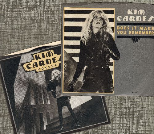 Carnes, Kim - 2 for 1 Special: Voyer/Does It Make You Remember (2 vintage first issue 45rpm records with picture sleeves for the price of 1!) - NM9/EX8 - 45 rpm Records