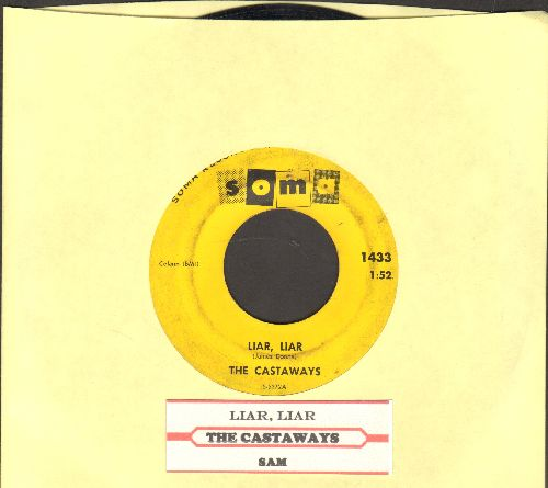 Castaways - Liar, Liar/Sam (with juke box label) - VG7/ - 45 rpm Records