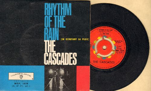 Cascades - Rhythm Of The Rain/Shy Girl/The Last Leaf/Let me Be (vinyl EP record with picture cover, French Pressing with removable spindle-adaptor) - EX8/EX8 - 45 rpm Records