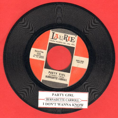 Carroll, Bernadette - Party Girl/I Don't Wanna Know (with juike box label) - EX8/ - 45 rpm Records