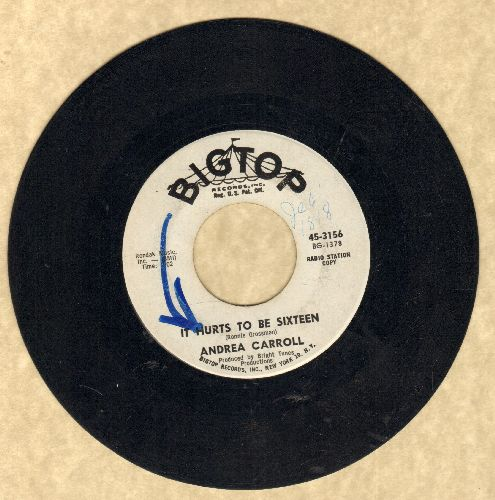 Carroll, Andrea - It Hurts To Be Sixteen/Why Am I So Shy (DJ advance pressing) (minor wol) - VG7/ - 45 rpm Records