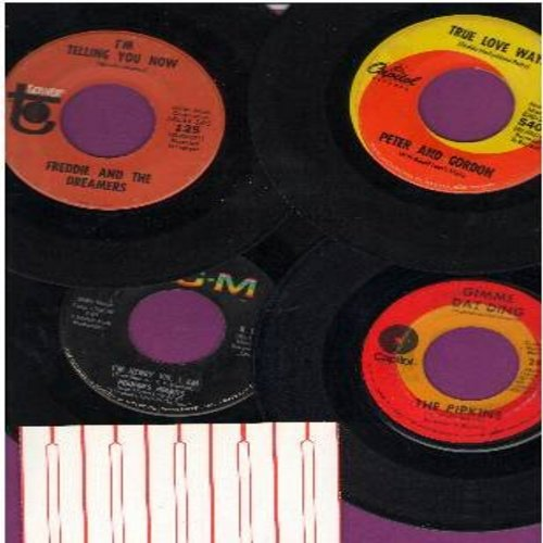 Peter & Gordon, Herman's Hermits, Pipkins, Freddy & The Dreamers - British Invasion 4-Pack: Original first issue 45s in very good or better condition, shipped in plain white paper seeves with 5 blank juke box labels. Hits include True Love Ways, Gimme Dat