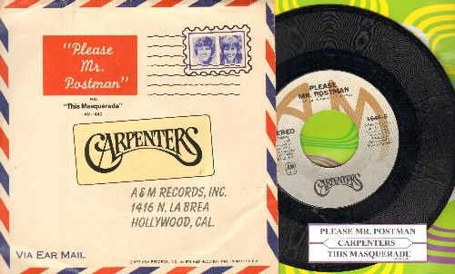 Carpenters - Please Mr. Postman/This Masquarade (with juke box label and picture sleeve) - NM9/EX8 - 45 rpm Records