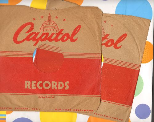 Company Sleeves - 10 inch vintage Capitol company sleeves (exactly as pictured), 2 for the price of 1! Enhances and protects you collectable 10 inch 78 rpm record!  - /EX8/EX8 - Supplies