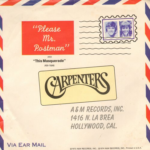 Carpenters - Please Mr. Postman/This Masquarade (with picture sleeve) - EX8/EX8 - 45 rpm Records