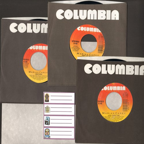 Carey, Mariah - Mariah Carey 3-Pack of 45s. Hits include Love Takes Time,Emotions and Can't Let Go. With Columbia company sleeves and 4 blank juke box labels. - NM9/ - 45 rpm Records