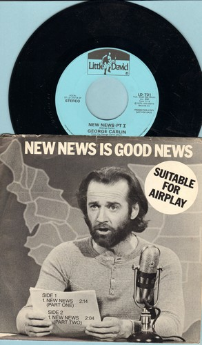 Carlin, George - New News (Parts 1 + 2) (DJ advance pressing with picture sleeve) - M10/EX8 - 45 rpm Records
