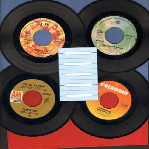 Carpenters, Champaign, Kenny Rodgers, Debby Boone - 70s Slow-Dance Favorites 4-Pack: For All We Know, She Believes In Me, You Light Up My Life, How 'Bout Us (shipped in white paper sleeves with 5 blank juke box labels) - EX8/ - 45 rpm Records