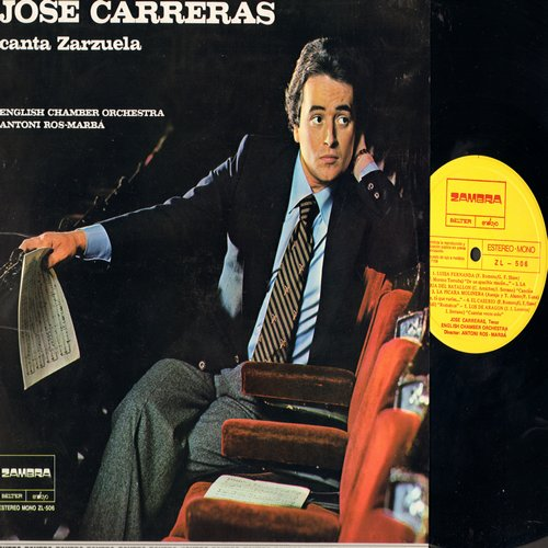 Carreras, Jose - Canta Zarzuela - English Chamber Orchestra conducted by Antoni Ros-Marba (Vinyl LP record, Spanish Pressing) - NM9/NM9 - LP Records
