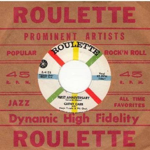 Carr, Cathy - First Anniversary/With Love (with vintage Roulette company sleeve) - EX8/ - 45 rpm Records