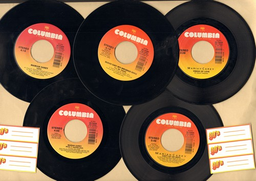 Carey, Mariah - 5-Pack first issue Mariah Carey 45s includes hits I'll Be There, Hero, Can't Let Go, Vision Of Love, Make It Happen. Shipped in plain white paper sleeves and 6 blank juke box labels. - NM9/ - 45 rpm Records
