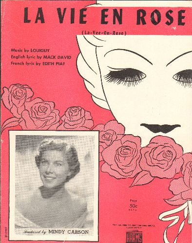 Carson, Mindy - La Vie En Rose - Vintage SHEET MUSIC for the Standard made famous by Mindy Carson (This is SHEET MUSIC, not any other kind of media!) - VG7/ - Sheet Music