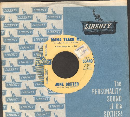 Carter, June - Mama Teach Me/Money (DJ advance pressing with vintage Liberty company sleeve, sol) - EX8/ - 45 rpm Records