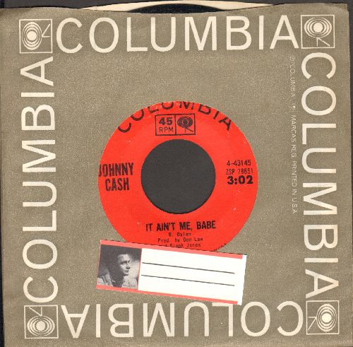 Cash, Johnny - It Ain't Me, Babe/Time And Time Again (with Columbia company sleeve) - EX8/ - 45 rpm Records