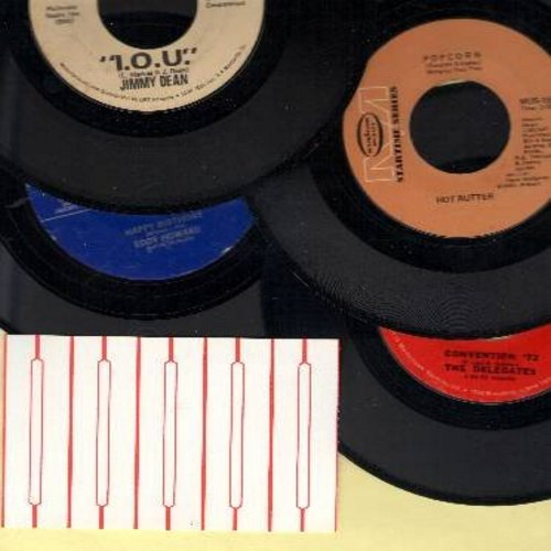 Dean Jimmy, Hot Butter, Delegates, Eddy Howard - 4-Pack of Novelty records: I.O.U. (sentimental letter to mother by Jimmy Dean), Popcorn (Instrumental by Hot Butter), Happy Birthday (Traditional by Eddy Howard, re-issue), Convention '72 (cut-in novelty by