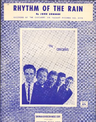 Cascades - Rhythm Of The Rain - Vintage SHEET MUSIC for the Classic Love Ballad - BEAUTIFUL cover portrait of the Doo-Wop Group! - EX8/ - 45 rpm Records