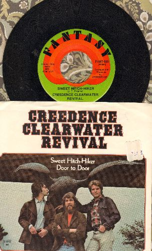 Creedence Clearwater Revival - Sweet Hitch-Hiker/Door To Door (with picture sleeve, original price sticker on picture sleeve) - NM9/NM9 - 45 rpm Records