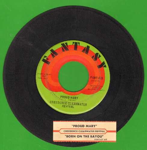 Creedence Clearwater Revival - Proud Mary/Born On The Bayou (with juke box label) - EX8/ - 45 rpm Records