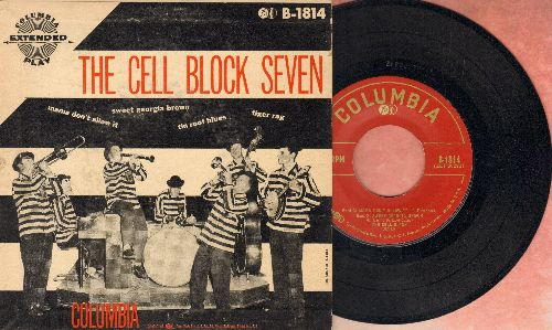 Cell Block Seven - Mama Don't Allow It/Sweet Georgia Brown/Tin Roof Blues/Tiger Rag (RARE 1953 first pressing EP with picture cover) - EX8/VG7 - 45 rpm Records