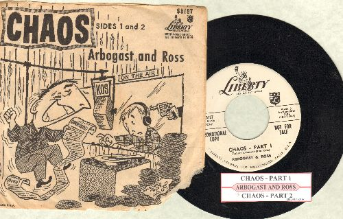 Arbogast & Ross - Chaos - Parts 1 & 2 (DJ advance pressing of RARE cut-in novelty with juke box label and picture sleeve) - NM9/G5 - 45 rpm Records