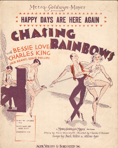 Comedian Harmonists - Happy Days Are Here Again - Vintage SHEET MUSIC for the song featured in film -Chasing Rainbows-, most famously used as FDR 1932 Campaign Song! - EX8/ - Sheet Music