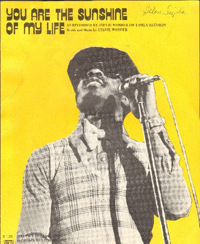 Wonder, Stevie - You Are The Sunshine Of My Life - Vintage SHEET MUSIC for the Stevie Wonder Classic - EX8/ - Sheet Music