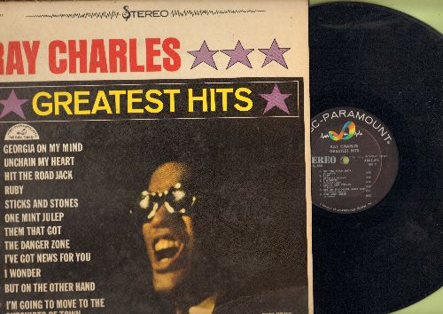 Charles, Ray - Greatest Hits: Hit The Road Jack, I Can't Stop Loving You, Georgia On My Mind, Ruby, Unchain My Heart (vinyl LP record, RARE Stereo Pressing!) - EX8/VG7 - LP Records
