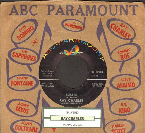 Charles, Ray - Busted/Making Believe (with ABC-Paramount company sleeve and juke box label) - NM9/ - 45 rpm Records