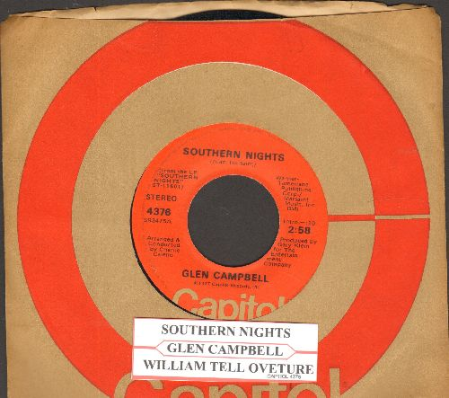 Campbell, Glen - Southern Nights/William Tell Overture (with juke box label and Capitol company sleeve) - EX8/ - 45 rpm Records