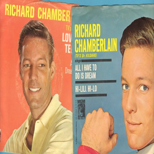 Chamberlain, Richard - 2 for 1 Special: All I Have To Do Is Dream/Love Me Tender (2 original first issue 45rpm records with picture sleeves for the price of 1!) - EX8/VG7 - 45 rpm Records
