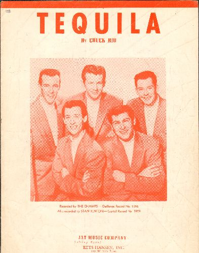 Champs - Tequila - Vintage SHEET MUSIC for the Surf Classic - NICE cover picture of The Champs! - VG7/ - Sheet Music