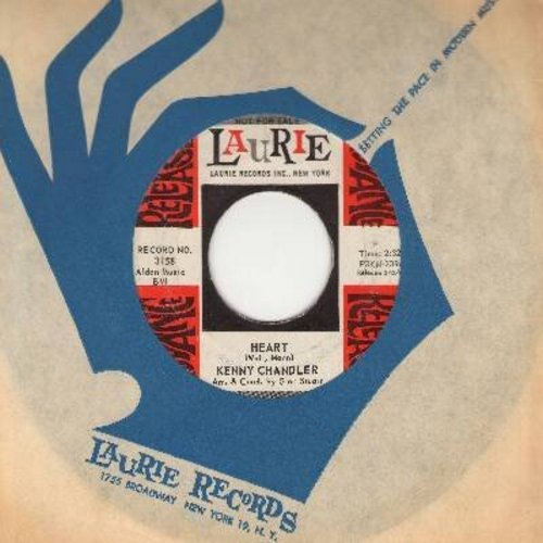Chandler, Kenny - Heart/Wait For Me (FANTASTIC overlooked flip-side, with RARE vintage Laurie company sleeve) - EX8/ - 45 rpm Records
