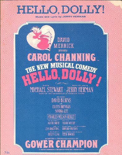 Channing, Carol - Hello Dolly - Vintage SHEET MUSIC for the Broadway Classic title song by Carol Channing. - EX8/ - Sheet Music