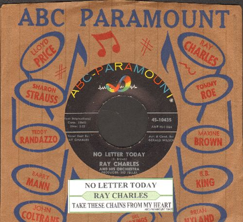 Charles, Ray - No Letter Today/Take These Chains From My Heart (with juke box label and vintage ABC-Paramount company sleeve) - NM9/ - 45 rpm Records