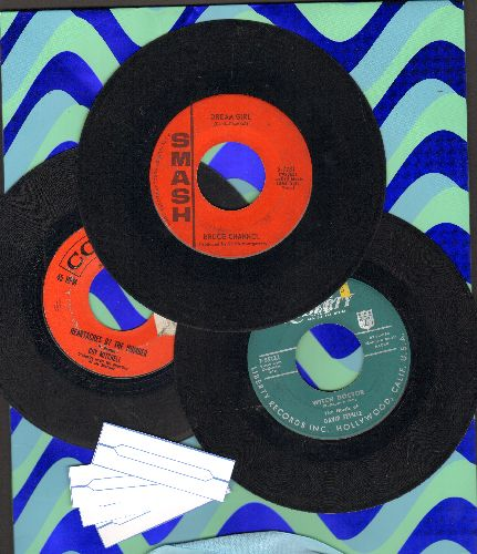 Channel, Bruce, Guy Mitchell, David Seville - 3-Pack of first issue 45s includes hits Hey! Baby, Witch Doctor and Heartaches By The Number. Shipped in plain paper sleeves with 4 blank juke box labels. - VG7/ - 45 rpm Records