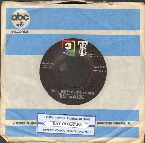 Charles, Ray - Sweet Young Thing Like You/Listen, They're Playing My Song (with vintage ABC company sleeve and juke box label) - NM9/ - 45 rpm Records