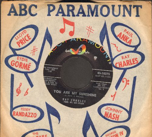 Charles, Ray - You Are My Sunshine/Your Cheating Heart (with vintage ABC-Paramount company sleeve) - EX8/ - 45 rpm Records