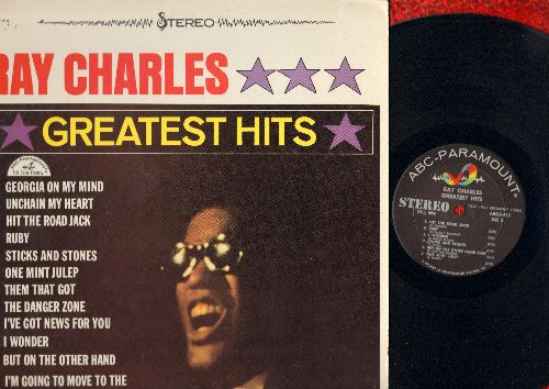 Charles, Ray - Greatest Hits: Georgia On My Mind, Hit The Road Jack, Unchain My Heart, One Mint Julep (Vinyl STEREO LP record, NICE condition!) - NM9/VG7 - LP Records