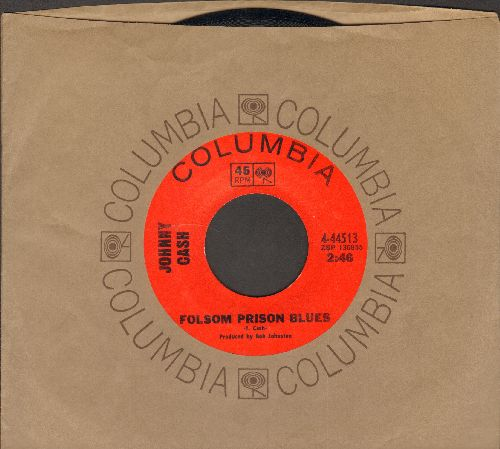 Cash, Johnny - Folsom Prison Blues/The Folk Singer (with Columbia company sleeve) - EX8/ - 45 rpm Records