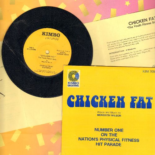 Knee, Bernie - Chicken Fat - The Youth Fitness Song, Music & Vocal Commands/Instrumental Version (7 inch 33 rpm reecord with small spindle hole, with Instructions pages and picture sleeve) - NM9/NM9 - 45 rpm Records