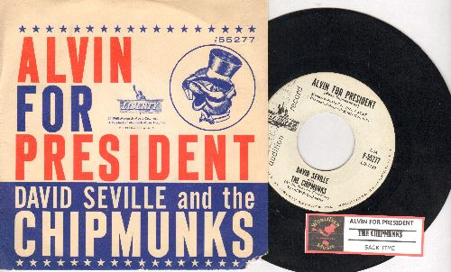 Chipmunks - Alvin For President/Sack Time (RARE DJ advance copy of early Chipmunks Novelty with picture sleeve, NICE condition!) - NM9/VG7 - 45 rpm Records
