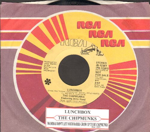 Chipmunks featuring Jerry Reed - Lunchbox/Mammas Don't Let Your Babies Grow Up To Be Chipmunks (DJ advance pressing with RCA company sleeve and juke box label) - NM9/ - 45 rpm Records